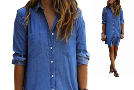 Bazaar me - Mini Denim Dress Available in 4 Sizes - Save 71%