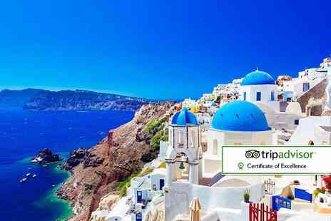 Super Escapes Travel - Four Star four night Santorini half board stay with flights - Save 0%