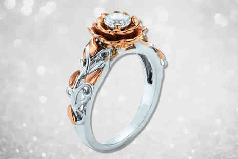 Your Ideal Gift - Rose and white gold coloured ring made with crystals from Swarovski - Save 98%