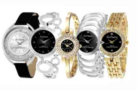 Groupon Goods Global GmbH - So Charm Watches with Diamonds and Crystals from Swarovski - Save 81%