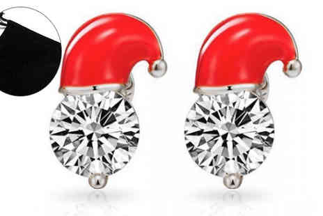 Fakurma UK - White Gold Plated Santa Hat Earrings Choose 1 or 2 Pairs - Save 90%