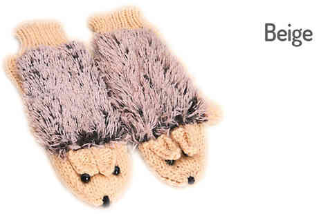 Richardson - Knitted Hedgehog Mittens Available in 6 Colours - Save 56%