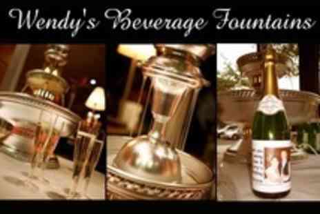 Wendys Beverage Fountains - 24 Hour Drinks Fountain Hire With Five Personalised Bottles of Bubbly - Save 50%