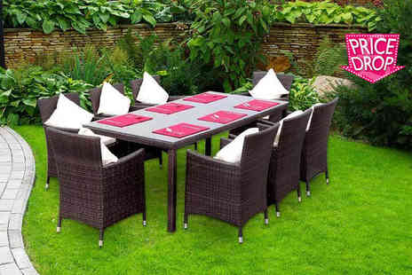 Giomani Designs - Eight seater rattan dining set of table, chairs & cushions - Save 79%