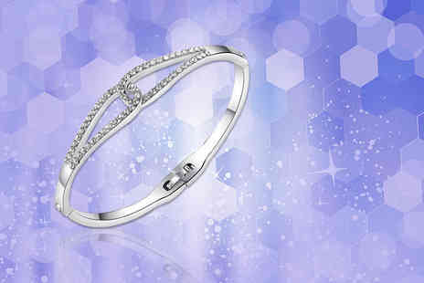 Your Ideal Gift - Infinity sparkling bangle made with crystals from swarovski - Save 84%