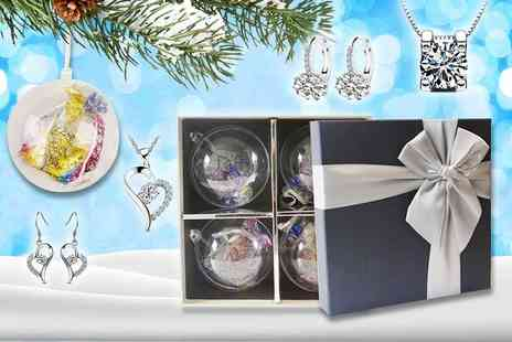GameChanger Associates - Set of four Christmas baubles with jewellery made with crystals - Save 90%