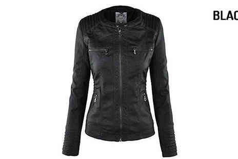Verso Fashion - Faux Leather Hooded Jacket Available in Three Colours - Save 50%