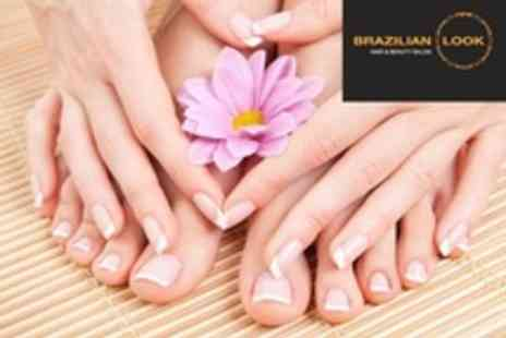 Brazilian Look - French or Colour Manicure and Pedicure - Save 56%