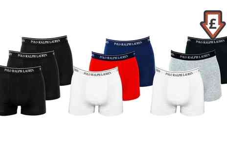 Groupon Goods Global GmbH - Ralph Lauren Three Pack of Mens Cotton Stretch Trunks - Save 0%