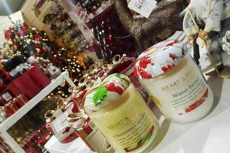 Hillmount Garden Centre - Large Heart & Home candle gift at Christmas Open Night - Save 60%