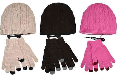 Groupon Goods Global GmbH - Smartphone Gloves and Beanie Headphone Hat - Save 60%