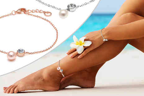 Lily Spencer - Freshwater pearl inspired anklet - Save 88%