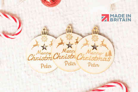 E Smartshop - Three personalised wooden bauble decorations - Save 67%