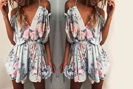 Verso Fashion - Off shoulder floral frill playsuit - Save 60%