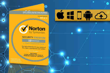 Software Link - One year subscription to Norton Security 3.0 Premium software bundle for three devices, five devices or 10 devices - Save 59%
