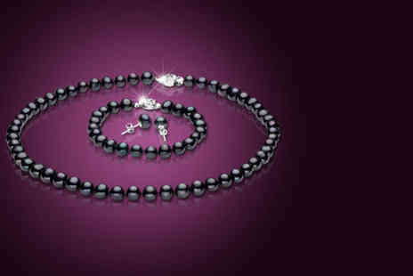 Pearl Shed Ltd -  Black pearl tri jewellery set - Save 88%