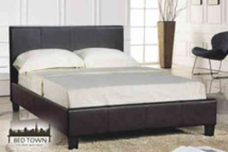 Bed Town - Brown faux leather double bed with reflex foam mattress  - Save 60%