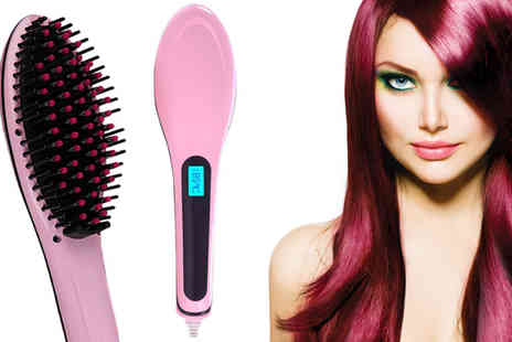 Gagala - Pink Ceramic Hair Straightening Brush - Save 88%