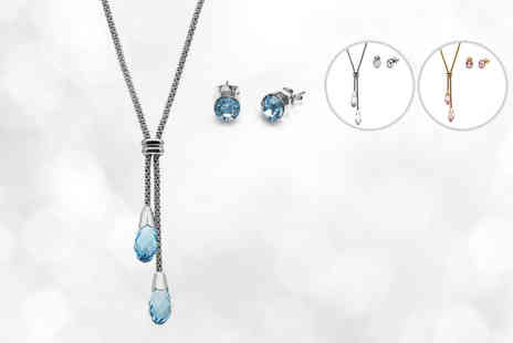 Lily Spencer - Lariat necklace and matching studs made with crystals from Swarovski choose from three colours - Save 83%