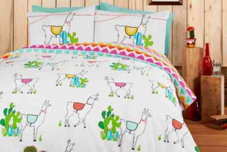 Groupon Goods Global GmbH - Happy Llamas Reversible Duvet Set in Choice of Size - Save 73%