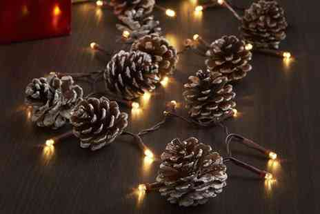 Groupon Goods Global GmbH - One, Two or Three Sets of Christmas Pine Cone Led Lights - Save 60%