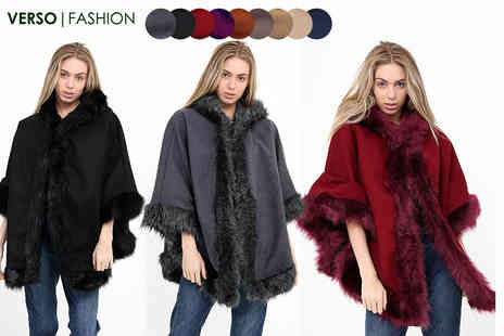 Verso Fashion - Faux fur lined hooded cape - Save 57%