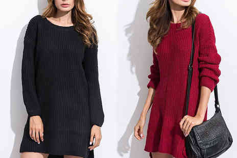 Verso Fashion - Long sleeve jumper dress Choose Two colours - Save 56%