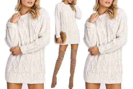 Lush Clothing - Cream cable knit crew neck jumper dress - Save 78%