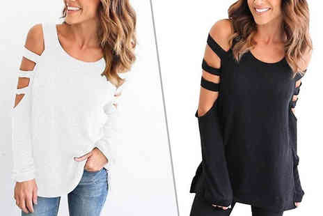 Graboom - Cut Out Sleeve Cotton Top Available in Seven Colours - Save 83%