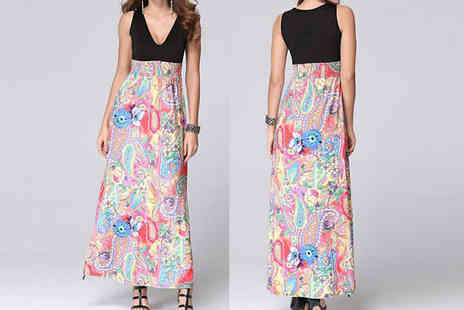 Graboom - Floral Empire Line Maxi Dress Choose from Three Colours - Save 74%