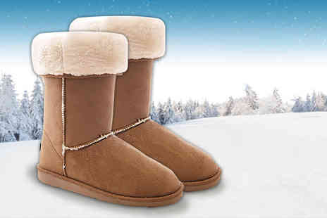 Solewish - Pair of faux fur lined chestnut boots - Save 76%