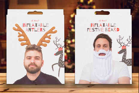 London Exchain Store - Inflatable Christmas accessory choose a Santa beard or reindeer antlers - Save 73%