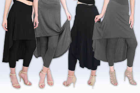 Verso Fashion - High low skirt leggings choose from two colours and sizes 6 to 14 - Save 64%