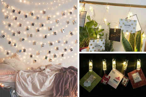 Black Feather - Set of 36 LED Photo Clip String Lights - Save 73%