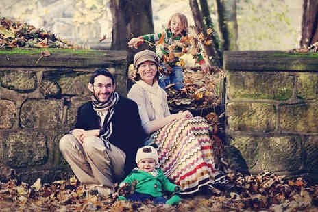 Mackney Photography - Family photoshoot including a mug, two keyrings and eight passport sized prints - Save 93%