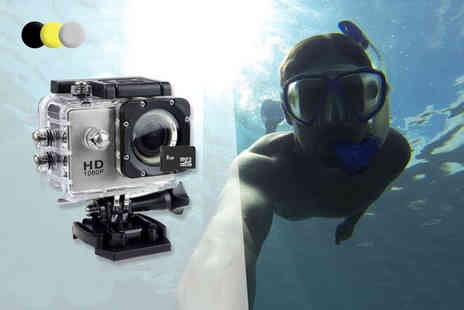 Tomllo - AdventurePro 1080p 12MP water resistant action camera and mount bundle choose black, silver or yellow - Save 82%