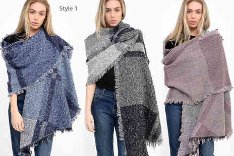 Verso Fashion - Oversized blanket scarf choose from three designs - Save 64%