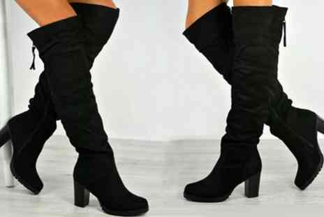 Groupon Goods Global GmbH - Womens Over the Knee Zipped Boots - Save 0%