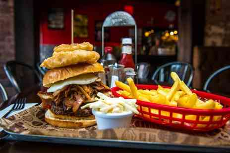 The Filling Station Smokehouse - Burger, fries and drink for two or four - Save 44%
