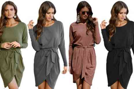 Groupon Goods Global GmbH - Long Sleeved Wrap Style Dress - Save 0%