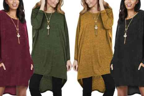 Groupon Goods Global GmbH - Oversized Jumper Dress with Pockets and Necklace - Save 0%