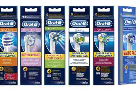 Groupon Goods Global GmbH - Four or Eight Braun Oralb Toothbrush Heads - Save 50%