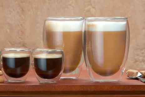 Groupon Goods Global GmbH - Two or Four Cooks Professional Double Wall Thermo Latte or Espresso Glasses - Save 60%
