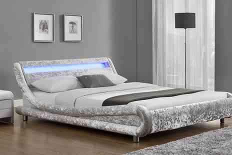 Groupon Goods Global GmbH - Galaxy Led Velvet Bedframe in Choice of Colour with Optional Mattress With Free Delivery - Save 55%