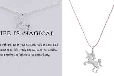 Elle and Be - Life is Magical Unicorn Necklace With Quote Card Choose from Two Colours - Save 83%