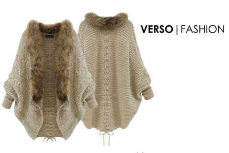 Verso Fashion - Faux fur lined batwing cardigan - Save 70%