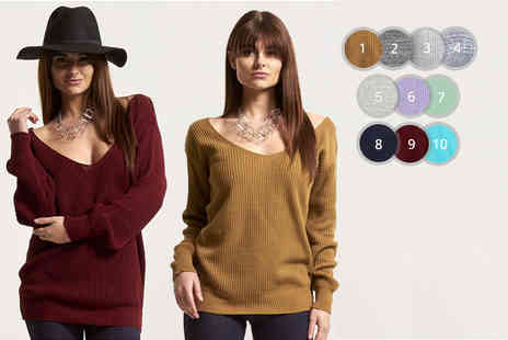 Be Jealous - Off the shoulder v neck jumper choose from 11 colours and four sizes - Save 67%