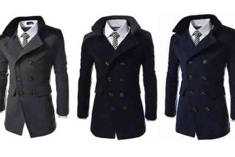 Groupon Goods Global GmbH - Mens Contrast Collar Smart Coat in Choice of Colour - Save 63%