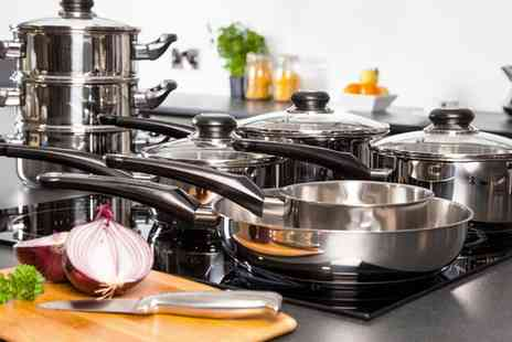 Groupon Goods Global GmbH - Morphy Richards Eight Piece Stainless Steel Pan Set With Free Delivery - Save 72%
