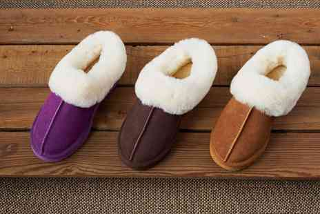 Groupon Goods Global GmbH - Womens Genuine Suede and Australian Sheepskin Ankle Slippers - Save 72%